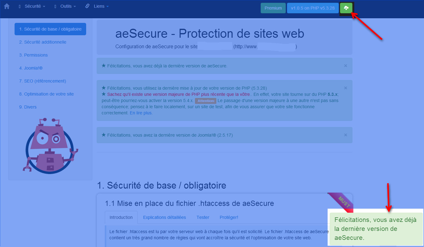 configuration aesecure mise a jour